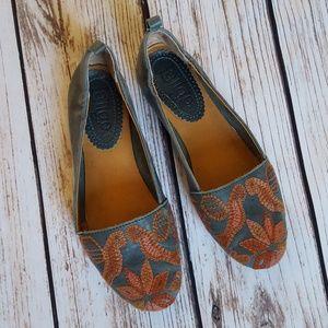 Anthropologie Latigo Boz Embroidered Flats Loafers